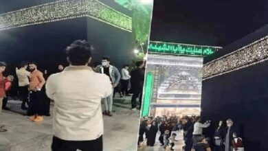 صورة شاهد بالفيديو…شيعة كربلاء يضعون مجسم للكعبة ويطوفون حوله