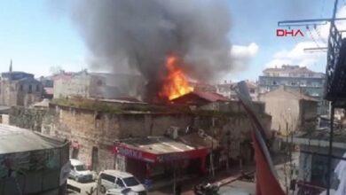 صورة عاجـــــــــل/ حريق ضخم وسط إسطنبول في مستودع للكيماويات